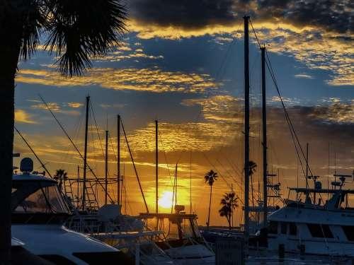 Boat Sunset Mast Sea Ocean Sunrise Dawn Color