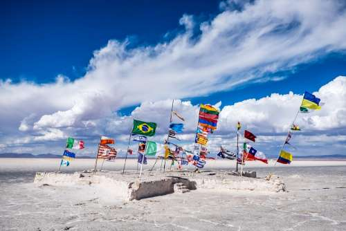 Bolivia Flags Salt Lake Lake Wind Sky Clouds