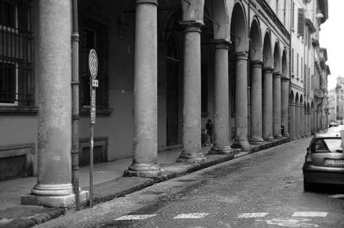 Bologna Black And White Rain Old Italy Road