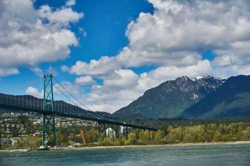 Bridge Water Nature Landscape River Sky Clouds