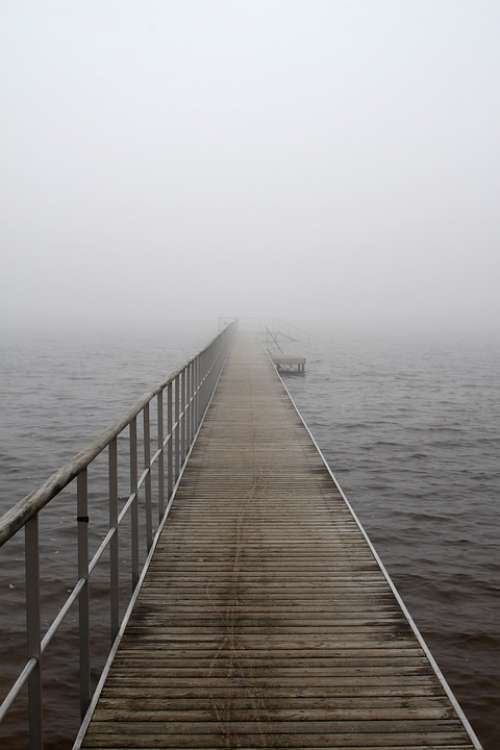 Bridge Fog A Jetty Lake Fjord Dis Mysterious