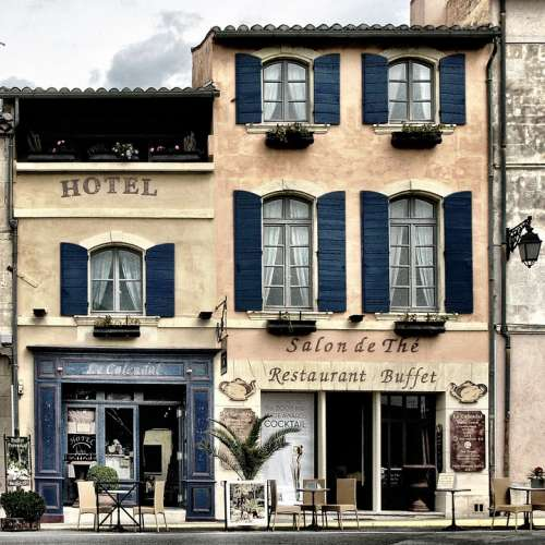 Building House Shops Hotel Street Cafe Provence
