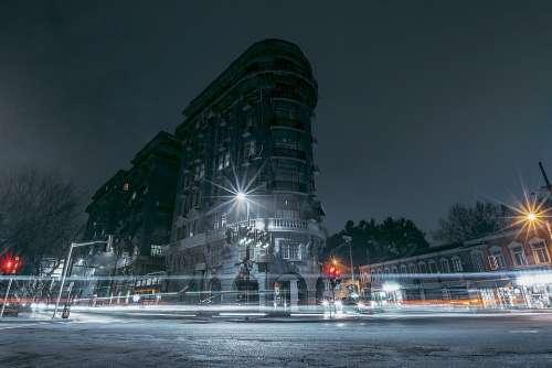 China Shanghai City Night Building Street