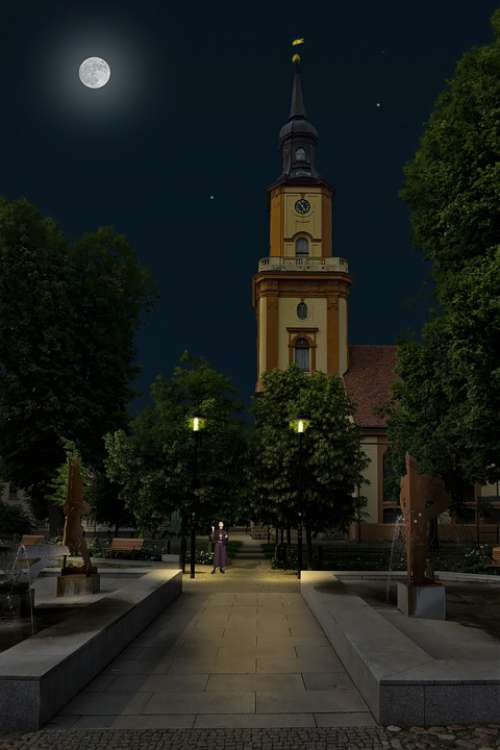 Church Night Moon Pastor Light Architecture