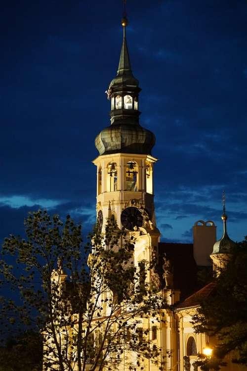 Church Night Prague Architecture Light Building