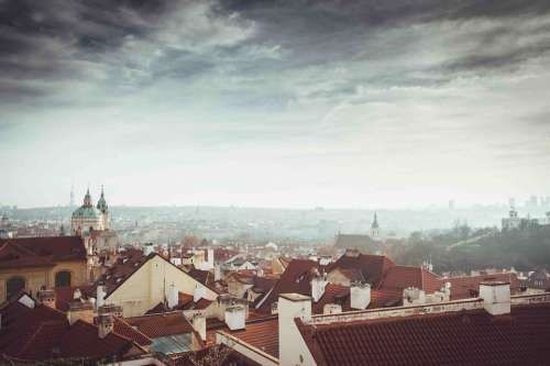 City Sky Clouds Prague Czech Republic Roofs View