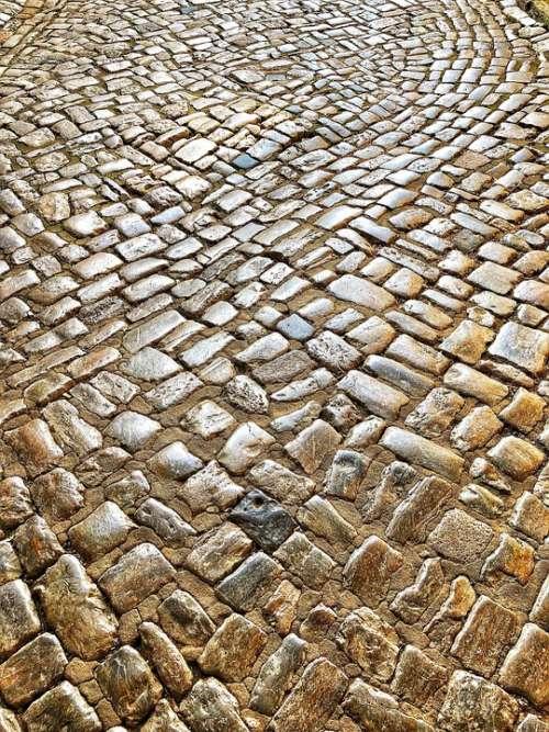 Cobblestones Away Paving Stones Road Pattern