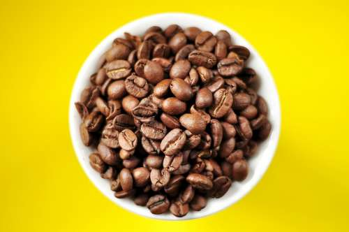 Coffee Coffee Beans Cup Espresso Yellow Plate