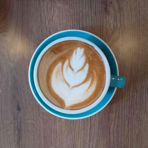 Coffee Latte Cup Lake Blue Table Wood Latte Art