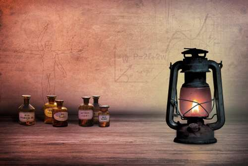 Composing Oil Lamp Alchemist Medicinal Products