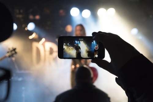 Concert Rock Band Singing Cellphone Crowd Lights