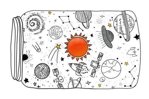Cosmos Jar Sun Stars Planets Rocket
