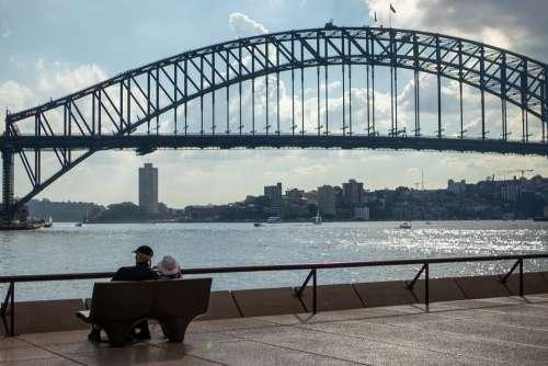 Couple Bench Sydney Harbour Bridge Sitting People