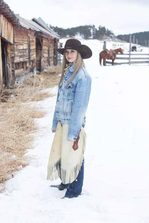 Cowgirl Dog Snow Barn Western Animal Woman Ranch