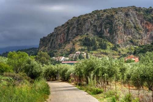 Crete Village Landscape Mountain Away Road Nature
