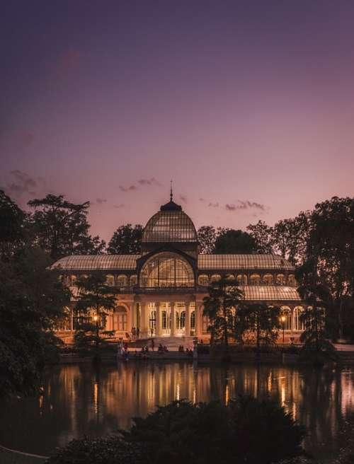Crystal Palace Madrid Pond Sunset Landscape