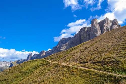 Dolomites Mountains Rock Trail Hiking Alpine