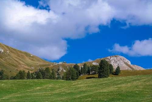 Dolomites Mountains Alm Alpine Sky Clouds Nature