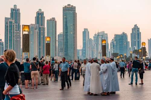 Downtown Dubai Uae Tourism City People Buildings
