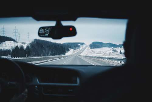 Driving Car Windshield Road Winter Speed