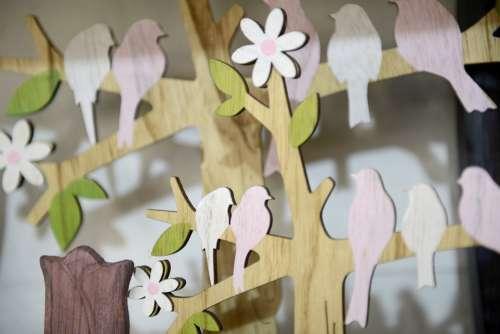 Easter Birds Decoration Spring Floral Colorful