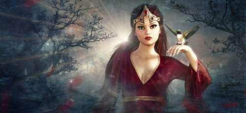Fantasy Fee Forest Bird Elf Fairy Tales Mystical