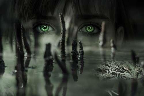 Fantasy Mysticism Magic Girl Eyes Frog Water