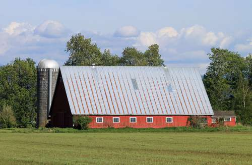Farm Barn Silo Countryside Agriculture Field