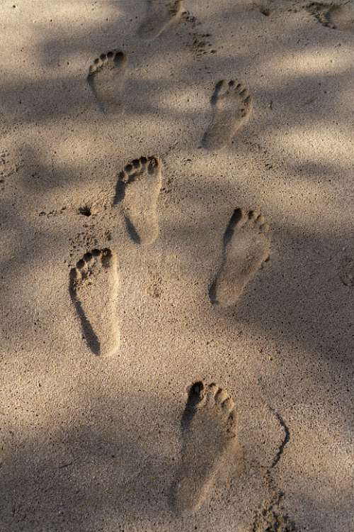 Feet Sand Footprint Beach Vacation