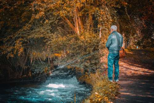 Fisherman Fishing River Water Cane Nature Hunting
