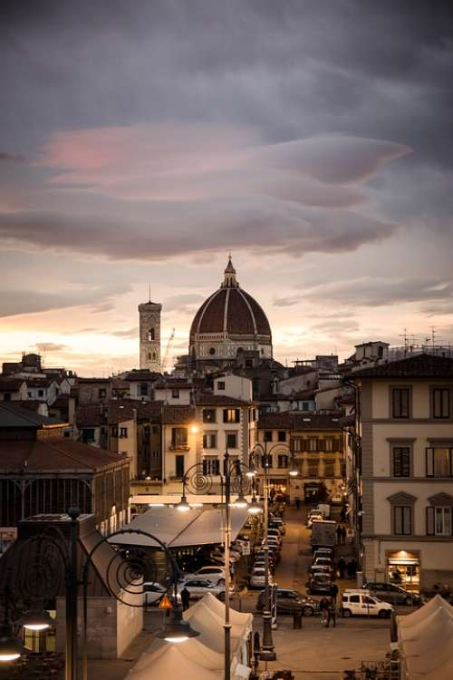 Florence Evening City Street Sunset Roofs Outlook