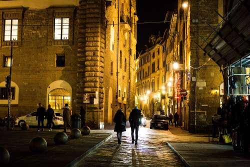 Florence Street People City Evening Italy Night