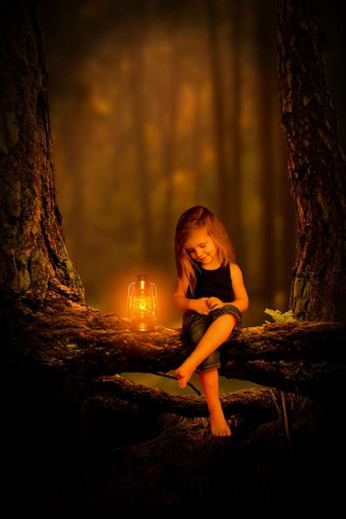 Forest Girl Child Light Kerosene Lamp Alone Run