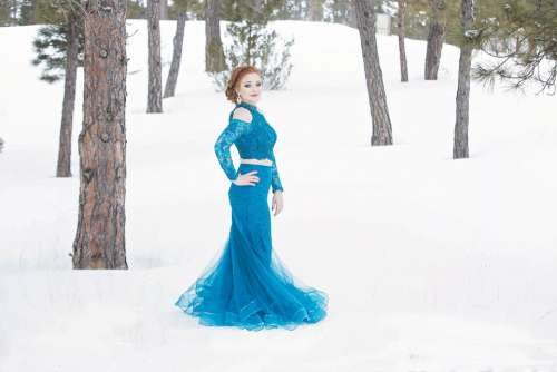Formal Dress Snow Winter Gown Woman Fashion Girl