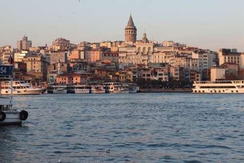 Galata Istanbul Marine Tower Turkey Landscape