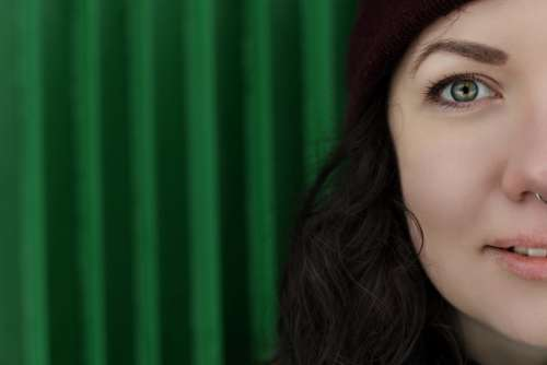 Girl Woman Green Half Person Portrait Eye