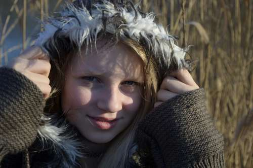 Girl Blond Winter Portrait Person Face Human