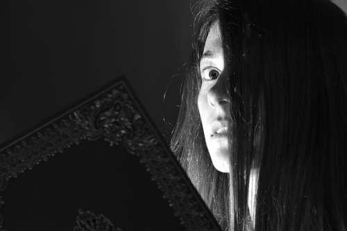Girl Woman Read Mystery Fear Strange Black White