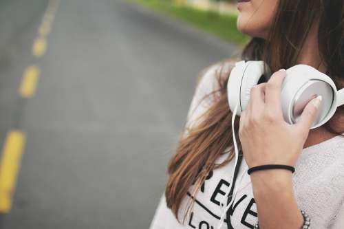 Girl Music Headphones Hipster Young Happy Female