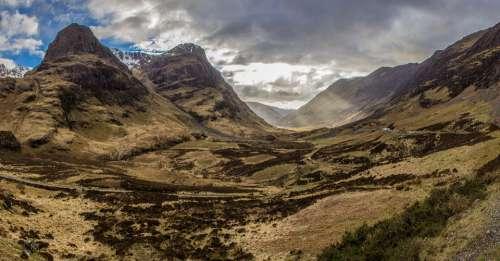Glencoe Mountains Scotland Highlands Scenic