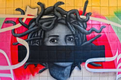 Graffiti Colorful Woman Medusa Eyes View