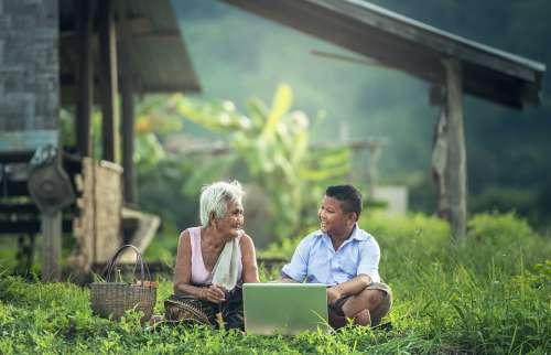 Grandmother Kids Laptop Myanmar Burma Asia