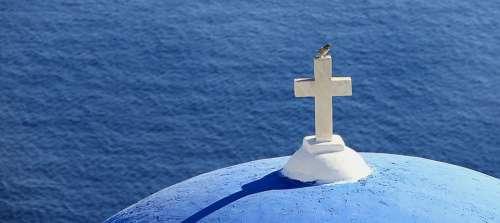 Greece Cross Bird Sea Church Spiritual Blue