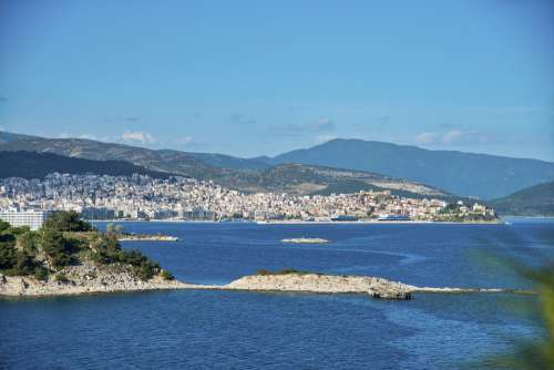 Greece Kabala City Spring Blue Color Sea Nature