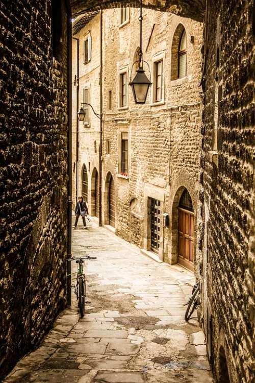 Gubbio Umbria Italy Architecture Borgo Glimpse