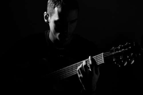 Guitar Person Man Black And White Music Playing