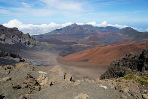 Haleakalā National Park Usa Mountains Blue Sky