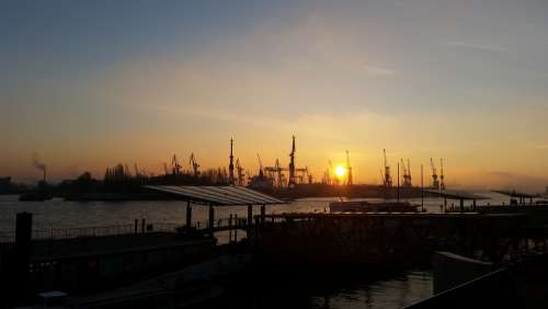 Hamburg Port Sunset Elbe Germany Container Water