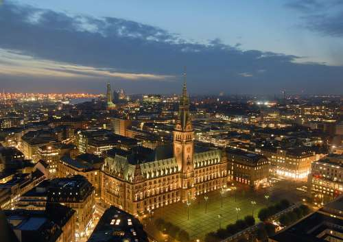 Hamburg Night Twilight Town Hall Evening