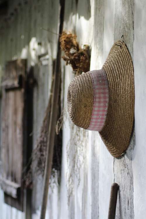 Hat House Summer Old Woman Window Travel Vintage